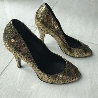 Authentic Chanel Peep Toe Heels Size 37.5