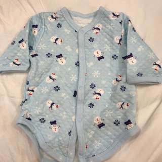 🚚 Uniqlo Baby~藍色小雪人厚棉長袖包屁衣#我有uq要賣