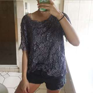Sheer lace purple top