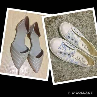 Authentic Melissa Petal Pointed Jelly Flats and White Sneakers