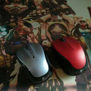 New Logitech wireless mouse silver/Red