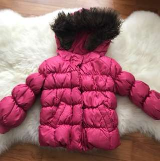 Baby Gap Pink Fur Trimmed Hooded Winter Jacket Down Coat