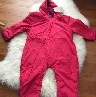 Kathmandu Fleece-Lined Pink Bambino Winter Jumpsuit
