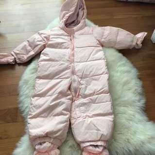 Baby Gap Light Pink Polka Dot Fleece-lined Winter Suit