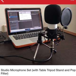 Studio Microphone Set (w table tripod stand & pop filter)