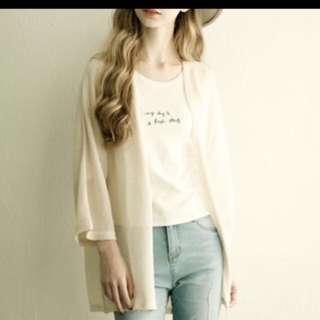 Lovfee慵懶米色寬袖針織外套