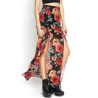 REDUCED Floral Slit F21 Chiffon Skirt