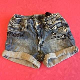 H&M 可愛貓咪牛仔短褲(可調腰圍,尺寸如圖)