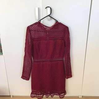 Maroon long sleeve mini dress with lace
