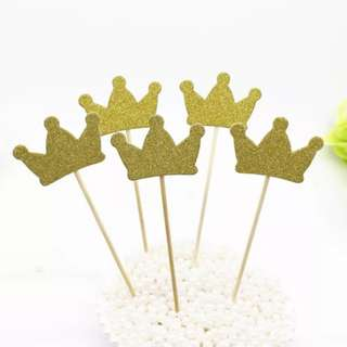 Gold Crown Cake Topper. Cupcake topper. Princess. Prince