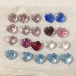 Genuine Swarovski Crystal Heart shape suits for Christmas angel making 6202
