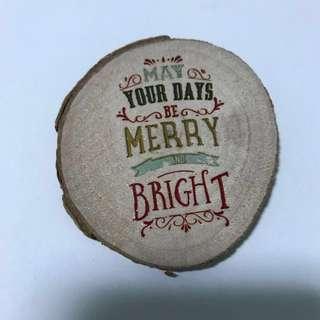 Christmas wood slice magnet