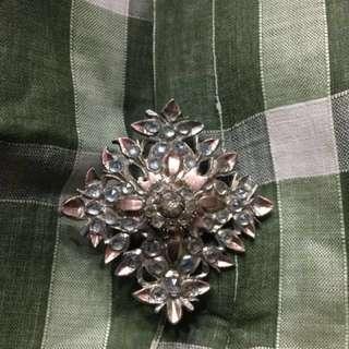 Vintage Silver & Gold Kerosang Pin with Batu Yacoob