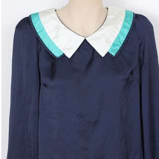 Peter Pan Collar, blue satin feel, long sleeved top - Preloved - Size 8