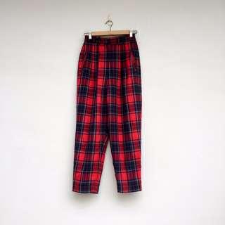 二手 紅色 格紋 高腰 長褲
