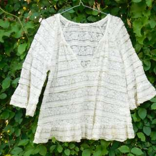 White lace bohemian shirt