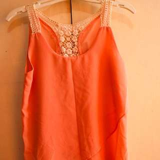 Peach Lace Sleeves Top
