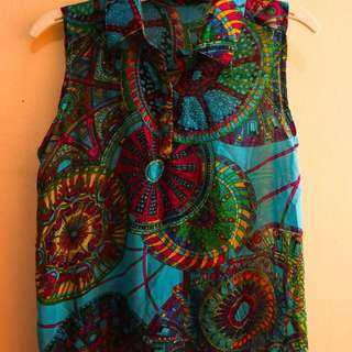 Colorful Blue Patterned Sleeveless Top