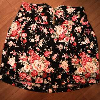 Black Floral with Zipper Skirt