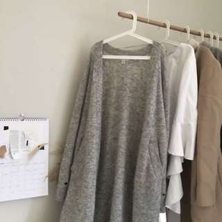 WITCHERY HEATHER GREY LONG CARDIGAN