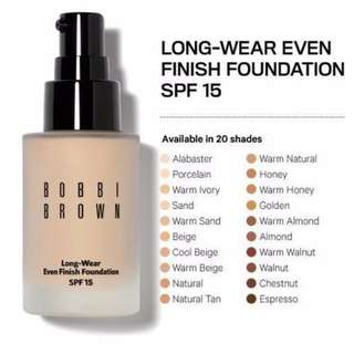 AUTHENTIC BOBBI BROWN COSMETIC LONG-WEAR EVEN FINISH FOUNDATION SPF 15, 30 ML