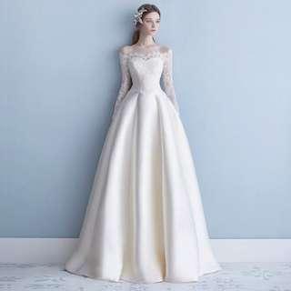 Wedding Collection - Elegant Long Sleeves Off Shoulder Design Wedding Gown