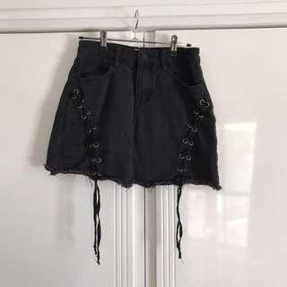 Black Tie Up Skirt