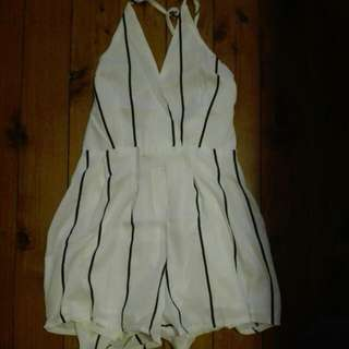 White Striped Cross Back Playsuit