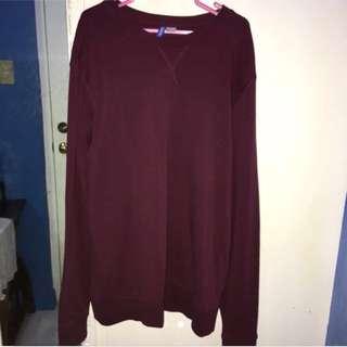 Men H&M Burgundy / Maroon Sweater Large