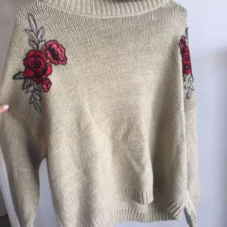 Dotti green embroided jumper
