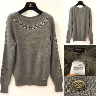 Chanel grey knitted top size