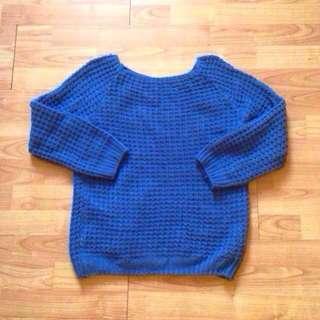 藍色韓版粗針織質感毛衣  #好物任你換 #我的女裝可超取