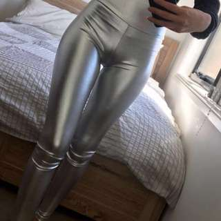Silver metallic leggings pants