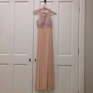 *SALE* Formal Lace Maxi Dress in Blush / Peach (Size: AU6-8)