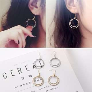 [INSTOCKS] DOUBLE RINGS EARRINGS