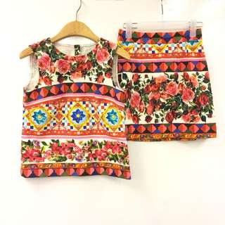 Dolce & Gabbana red pattern twin set size 36