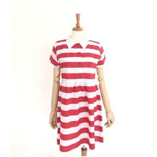Stripes Gathered Dress