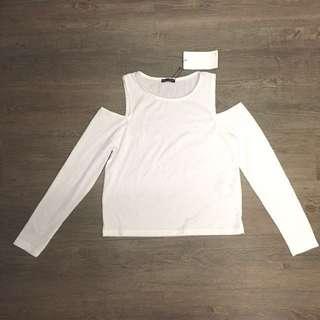 Zara White Cold-shoulder top