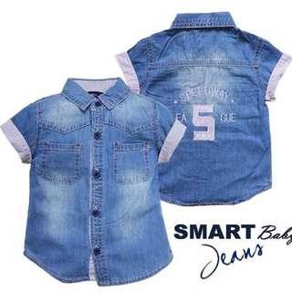 (B01200SMA1) Kemeja Pendek Denim Smart Baby