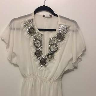 White Dress with Silver Sequins - Size 1 (Small)