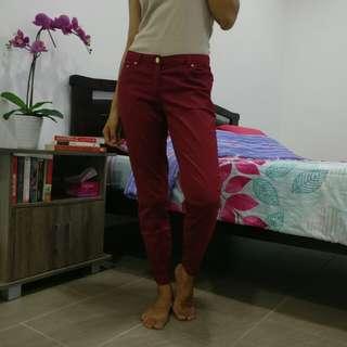 H&M Crimson Red Casual Long Pants