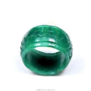 珍珠林~小瑕疵大特價~緬甸鐵龍生靈芝如意板指.立體老工雕法.難得美件 #444