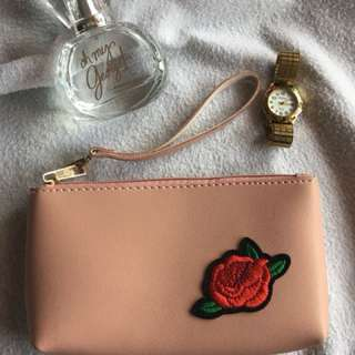 Pink Pouch with Rose Patch and Sling