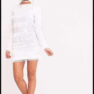 White Sequin Fringed Bodycon Dress