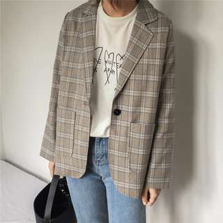 🚚 new! 韓版秋冬裝女生學生格子西裝外套