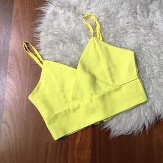 Lemon yellow crop top