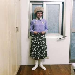 紫色點點領上衣(內刷毛)/點點古著裙⛄️