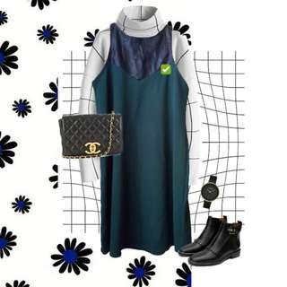 Moss Leather Neck Dress