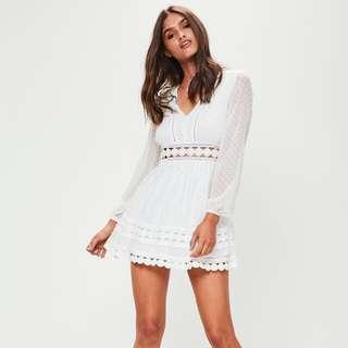 White Dobby Mesh Skater Dress