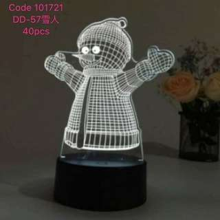 Snowman 3D Electric Visualization Lamps Optical Color Changing LED Lights